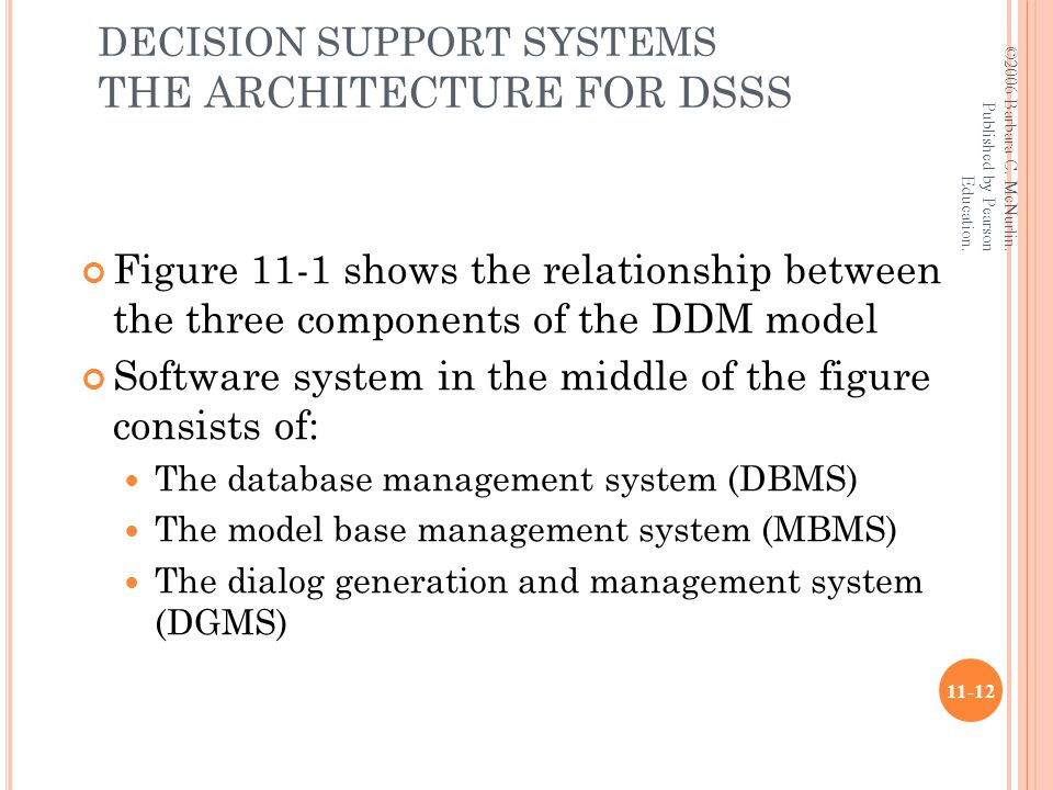 DECISION SUPPORT SYSTEMS THE ARCHITECTURE FOR DSSS Figure 11-1 shows the relationship between the three components of the DDM model Software system in the middle of the figure consists of: The database management system (DBMS) The model base management system (MBMS) The dialog generation and management system (DGMS) ©2006 Barbara C.