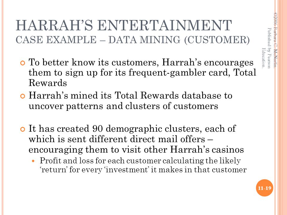 HARRAH'S ENTERTAINMENT CASE EXAMPLE – DATA MINING (CUSTOMER) To better know its customers, Harrah's encourages them to sign up for its frequent-gambler card, Total Rewards Harrah's mined its Total Rewards database to uncover patterns and clusters of customers It has created 90 demographic clusters, each of which is sent different direct mail offers – encouraging them to visit other Harrah's casinos Profit and loss for each customer calculating the likely 'return' for every 'investment' it makes in that customer ©2006 Barbara C.