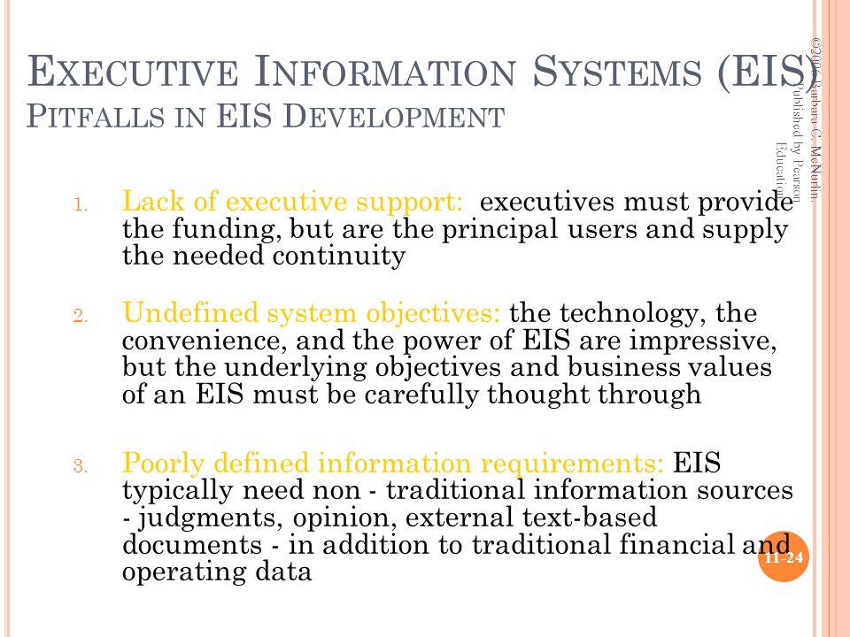 E XECUTIVE I NFORMATION S YSTEMS (EIS) P ITFALLS IN EIS D EVELOPMENT 1.