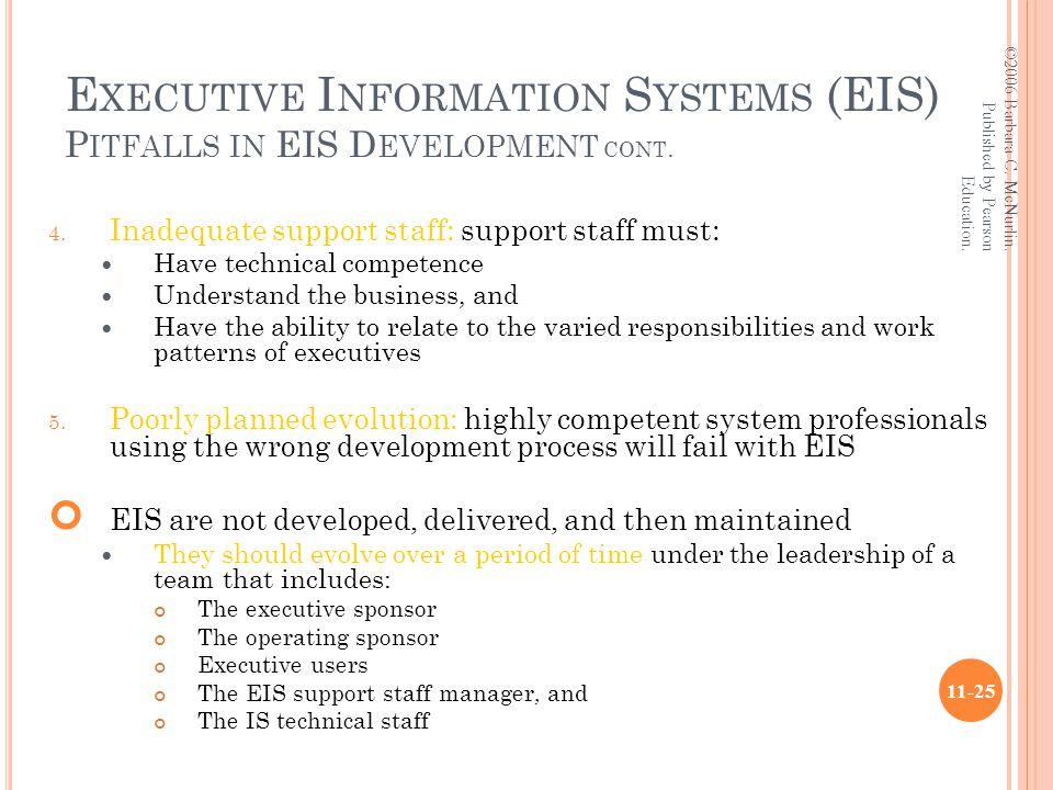 E XECUTIVE I NFORMATION S YSTEMS (EIS) P ITFALLS IN EIS D EVELOPMENT CONT.