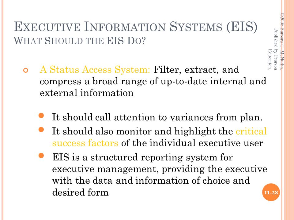 E XECUTIVE I NFORMATION S YSTEMS (EIS) W HAT S HOULD THE EIS D O .