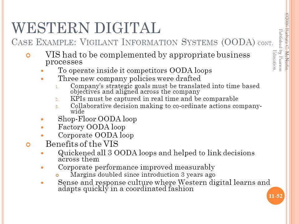 WESTERN DIGITAL C ASE E XAMPLE : V IGILANT I NFORMATION S YSTEMS (OODA) CONT.