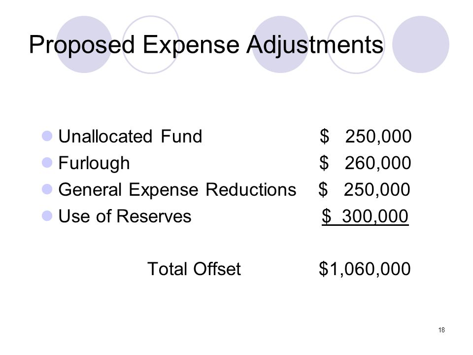 18 Proposed Expense Adjustments Unallocated Fund $ 250,000 Furlough $ 260,000 General Expense Reductions $ 250,000 Use of Reserves $ 300,000 Total Offset $1,060,000