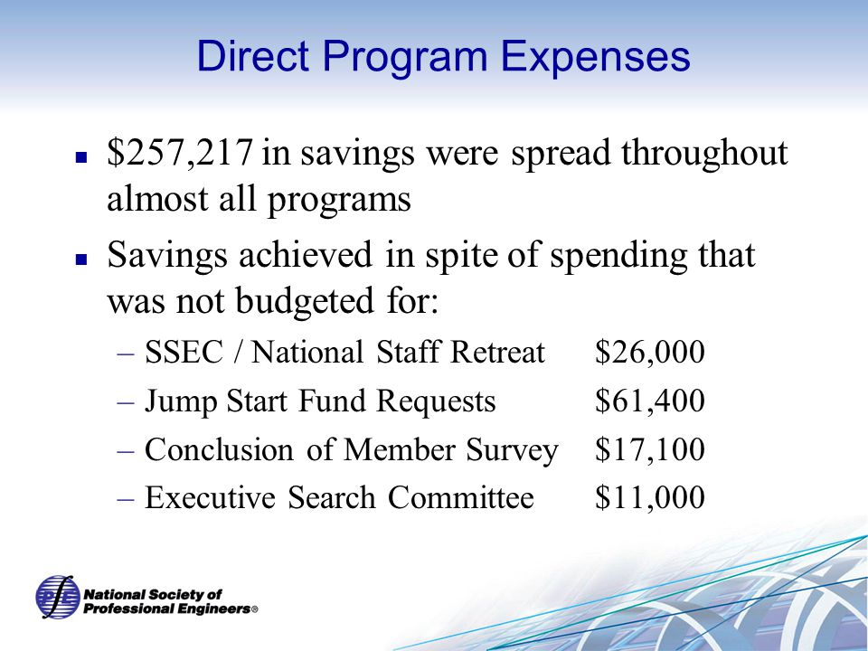 Direct Program Expenses $257,217 in savings were spread throughout almost all programs Savings achieved in spite of spending that was not budgeted for: –SSEC / National Staff Retreat$26,000 –Jump Start Fund Requests$61,400 –Conclusion of Member Survey$17,100 –Executive Search Committee$11,000