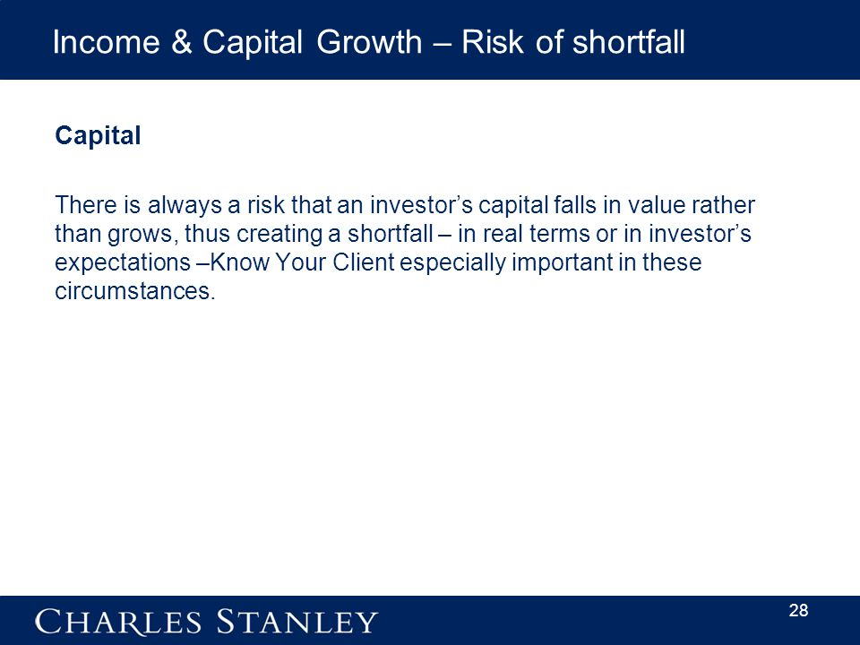 Income & Capital Growth – Risk of shortfall Capital There is always a risk that an investor's capital falls in value rather than grows, thus creating a shortfall – in real terms or in investor's expectations –Know Your Client especially important in these circumstances.