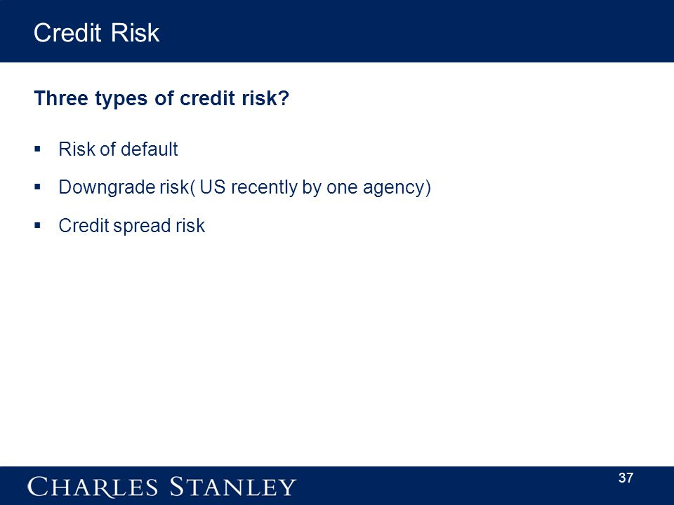 Credit Risk Three types of credit risk.