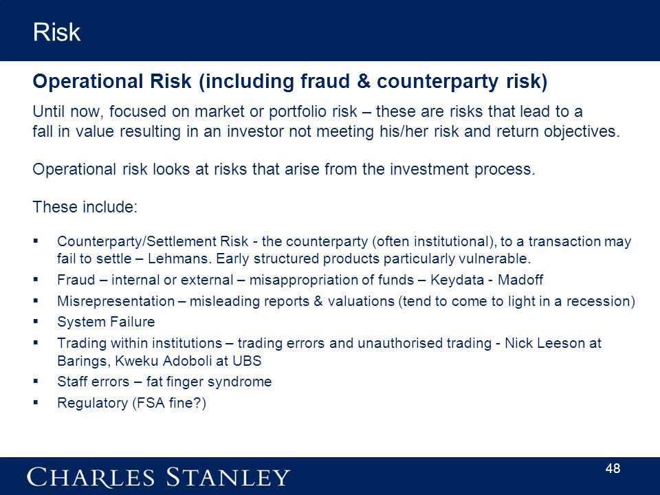 Operational Risk (including fraud & counterparty risk) Until now, focused on market or portfolio risk – these are risks that lead to a fall in value resulting in an investor not meeting his/her risk and return objectives.