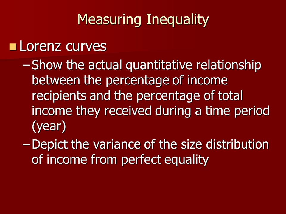 Measuring Inequality Lorenz curves Lorenz curves –Show the actual quantitative relationship between the percentage of income recipients and the percen