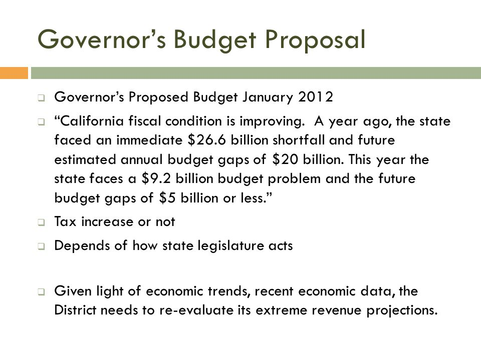Governor's Budget Proposal  Governor's Proposed Budget January 2012  California fiscal condition is improving.