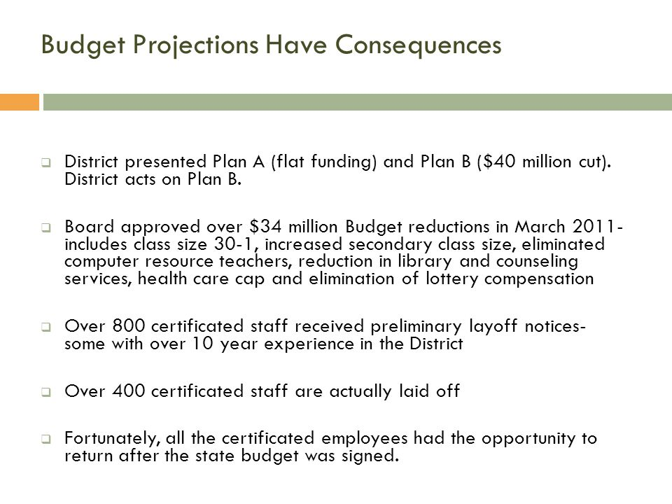 Budget Projections Have Consequences  District presented Plan A (flat funding) and Plan B ($40 million cut).
