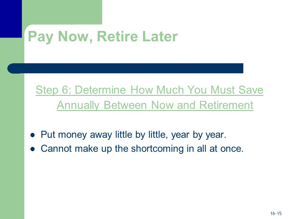 16-15 Pay Now, Retire Later Step 6: Determine How Much You Must Save Annually Between Now and Retirement Put money away little by little, year by year.