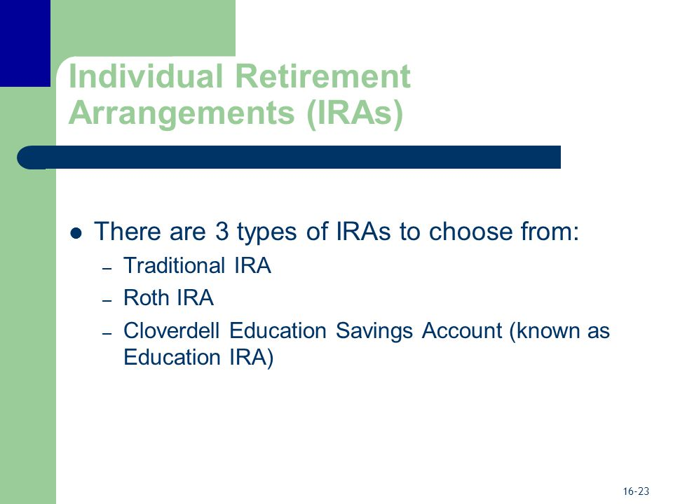 16-23 Individual Retirement Arrangements (IRAs) There are 3 types of IRAs to choose from: – Traditional IRA – Roth IRA – Cloverdell Education Savings Account (known as Education IRA)
