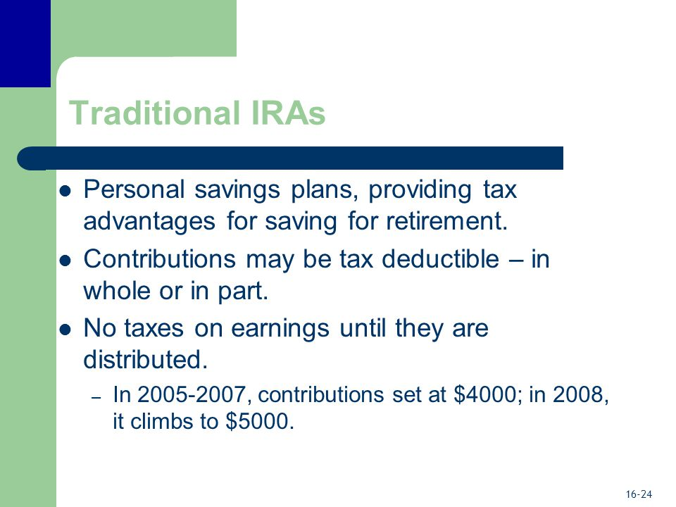 16-24 Traditional IRAs Personal savings plans, providing tax advantages for saving for retirement.