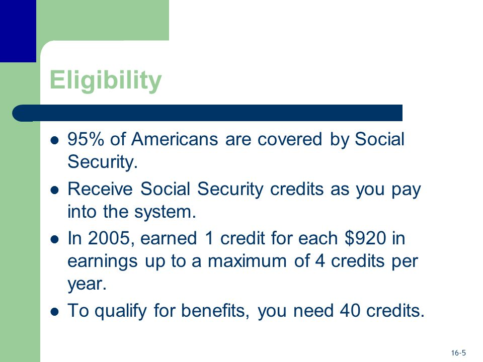 16-5 Eligibility 95% of Americans are covered by Social Security.
