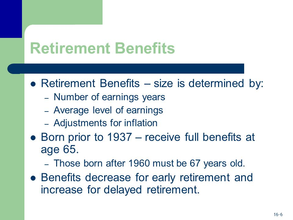 16-6 Retirement Benefits Retirement Benefits – size is determined by: – Number of earnings years – Average level of earnings – Adjustments for inflation Born prior to 1937 – receive full benefits at age 65.