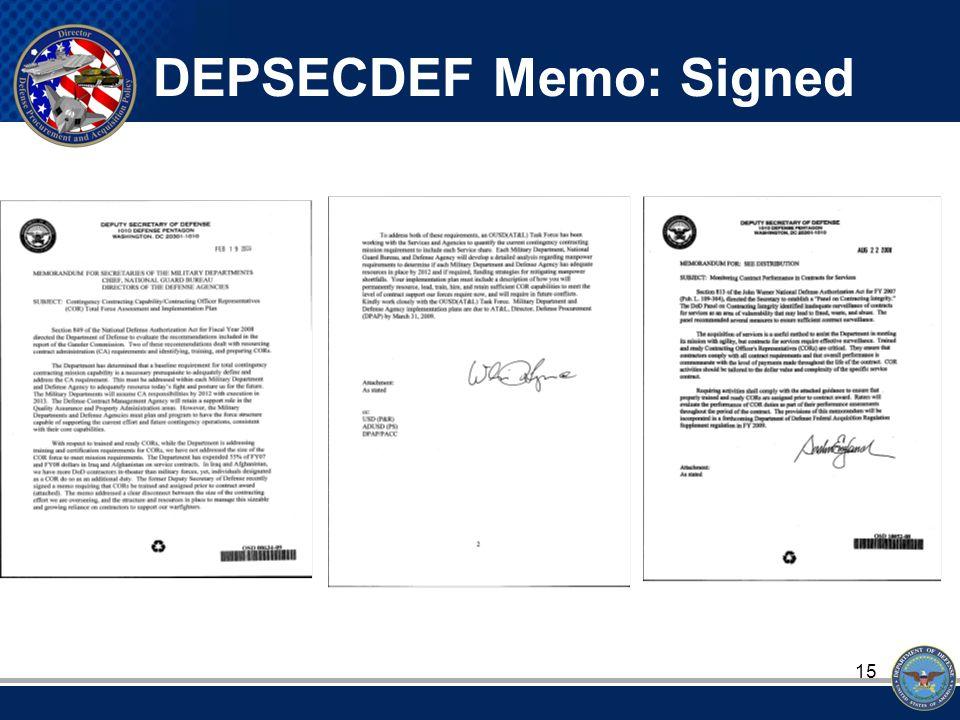 15 DEPSECDEF Memo: Signed