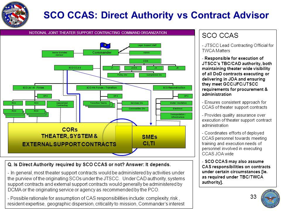 33 SCO CCAS: Direct Authority vs Contract Advisor Q.