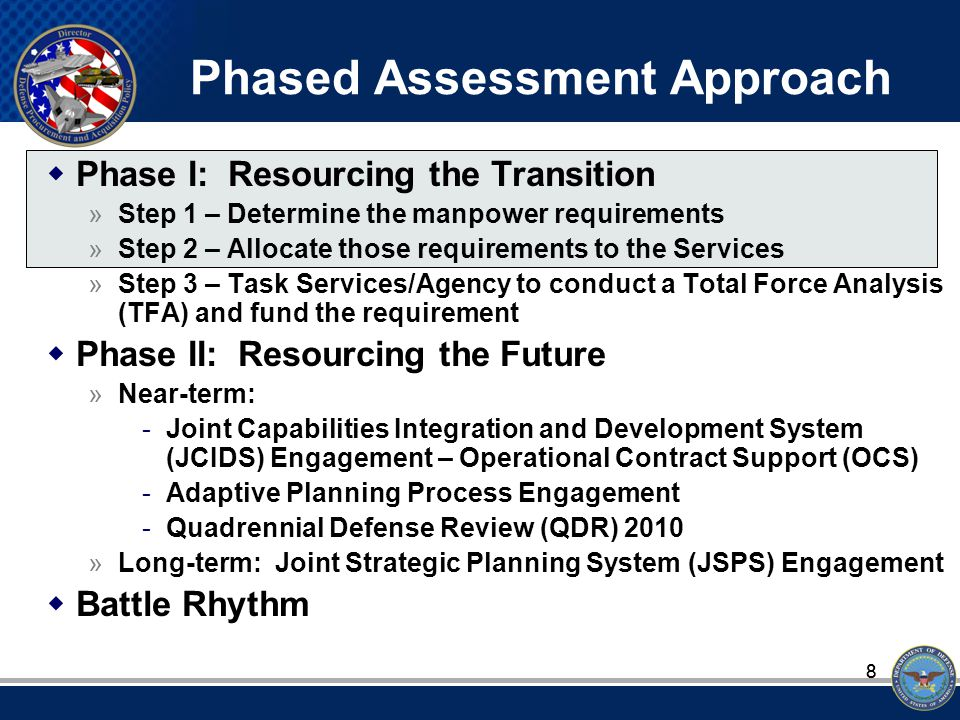88 Phased Assessment Approach  Phase I: Resourcing the Transition »Step 1 – Determine the manpower requirements »Step 2 – Allocate those requirements to the Services »Step 3 – Task Services/Agency to conduct a Total Force Analysis (TFA) and fund the requirement  Phase II: Resourcing the Future »Near-term: -Joint Capabilities Integration and Development System (JCIDS) Engagement – Operational Contract Support (OCS) -Adaptive Planning Process Engagement -Quadrennial Defense Review (QDR) 2010 »Long-term: Joint Strategic Planning System (JSPS) Engagement  Battle Rhythm