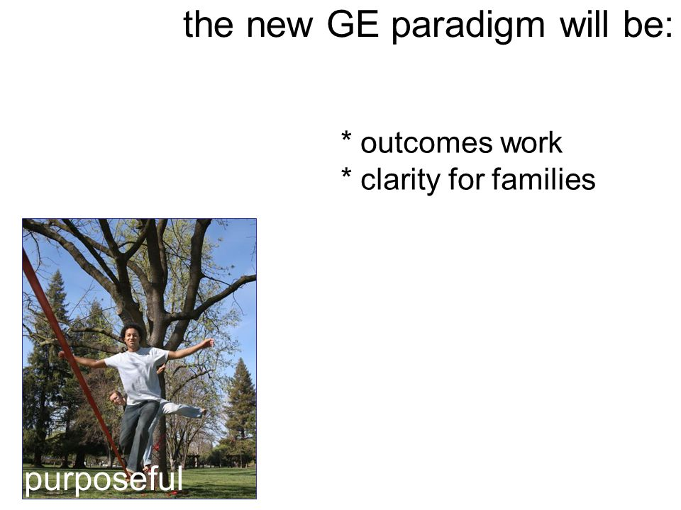 the new GE paradigm will be: purposeful * outcomes work * clarity for families