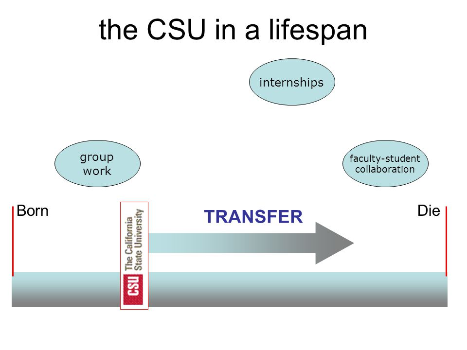 BornDie the CSU in a lifespan TRANSFER internships group work faculty-student collaboration