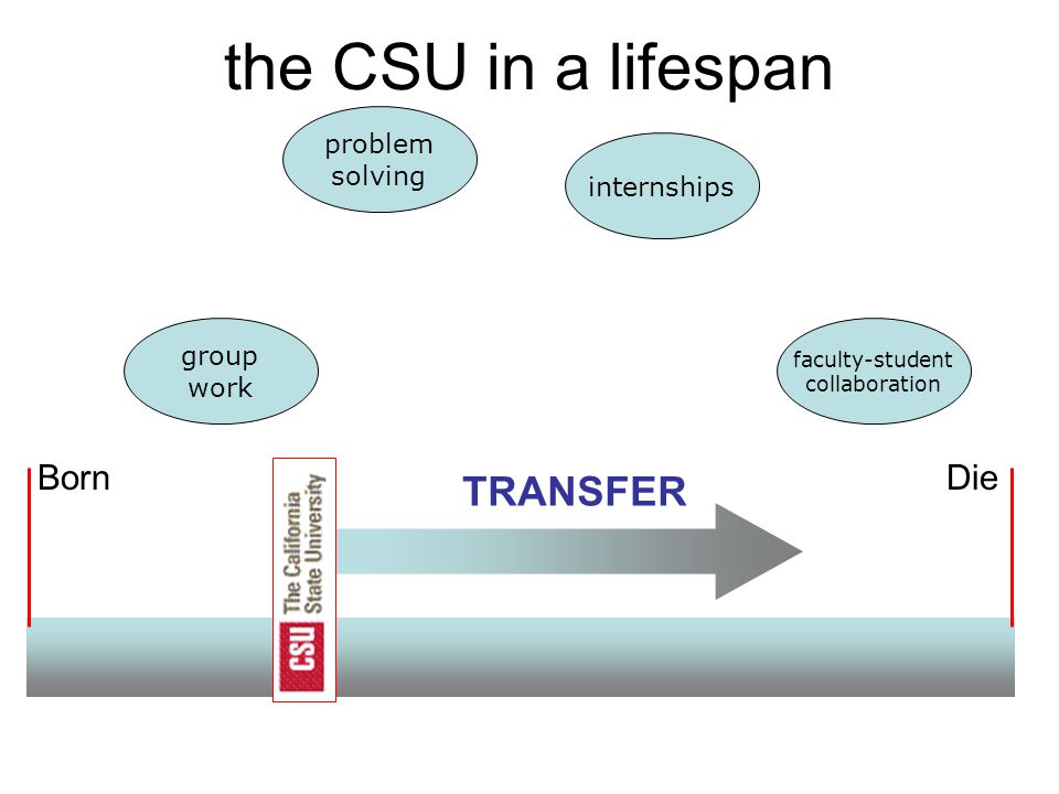BornDie the CSU in a lifespan TRANSFER internships group work problem solving faculty-student collaboration