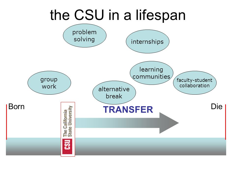 BornDie the CSU in a lifespan TRANSFER internships learning communities group work problem solving alternative break faculty-student collaboration