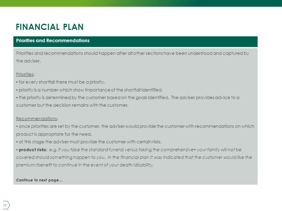 FINANCIAL PLAN 15 Priorities and Recommendations Priorities and recommendations should happen after all other sections have been understood and captured by the adviser.