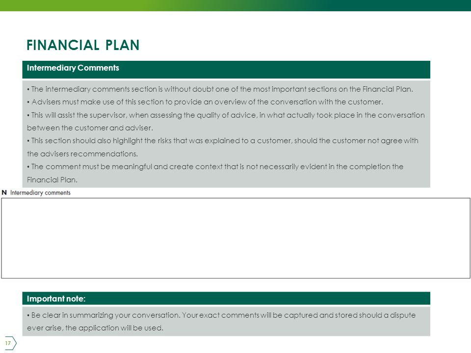 FINANCIAL PLAN 17 Intermediary Comments The intermediary comments section is without doubt one of the most important sections on the Financial Plan.