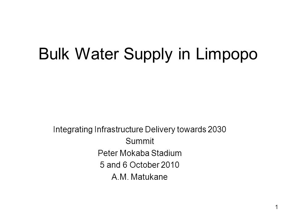 2 Contents 1.Growth Points 2.Water Resources -Dams, Transfers, Ground water 3.ORWRDP, MCWAP, GLEWAP, LRGWS -Description, Purpose, Map, Schedule, Risks and Mitigation 4.Regional Bulk Infrastructure Grant (RBIG) 5.Funding 6.Challenges