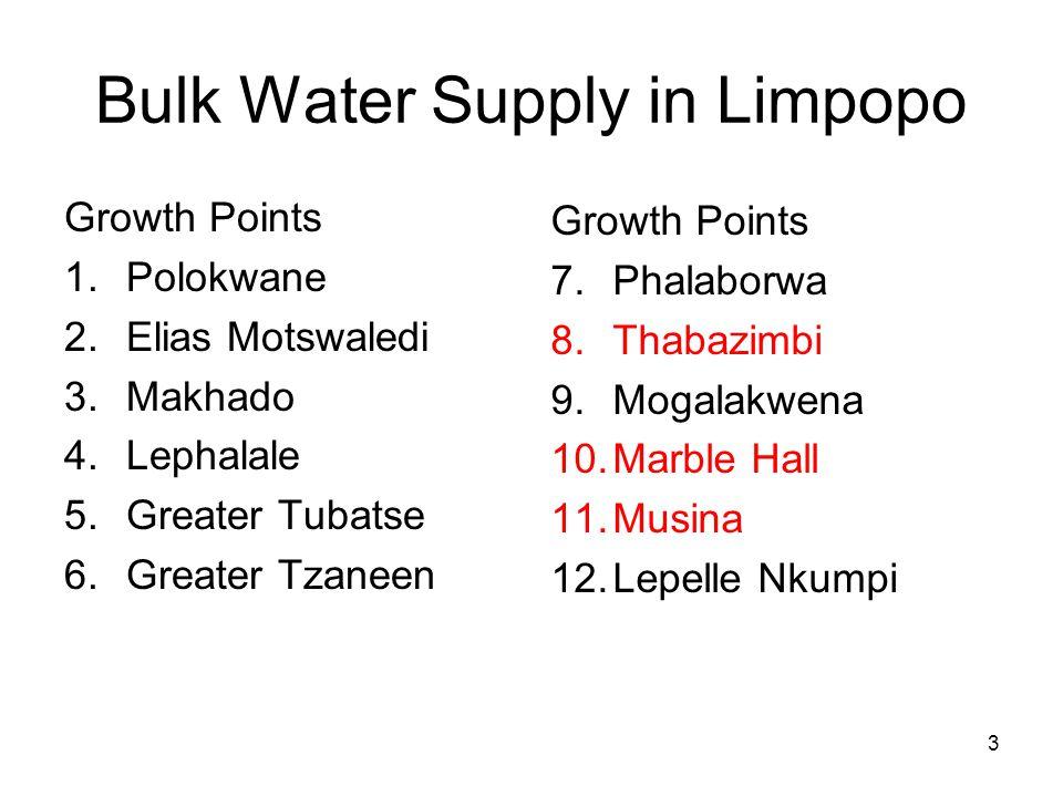 3 Bulk Water Supply in Limpopo Growth Points 1.Polokwane 2.Elias Motswaledi 3.Makhado 4.Lephalale 5.Greater Tubatse 6.Greater Tzaneen Growth Points 7.