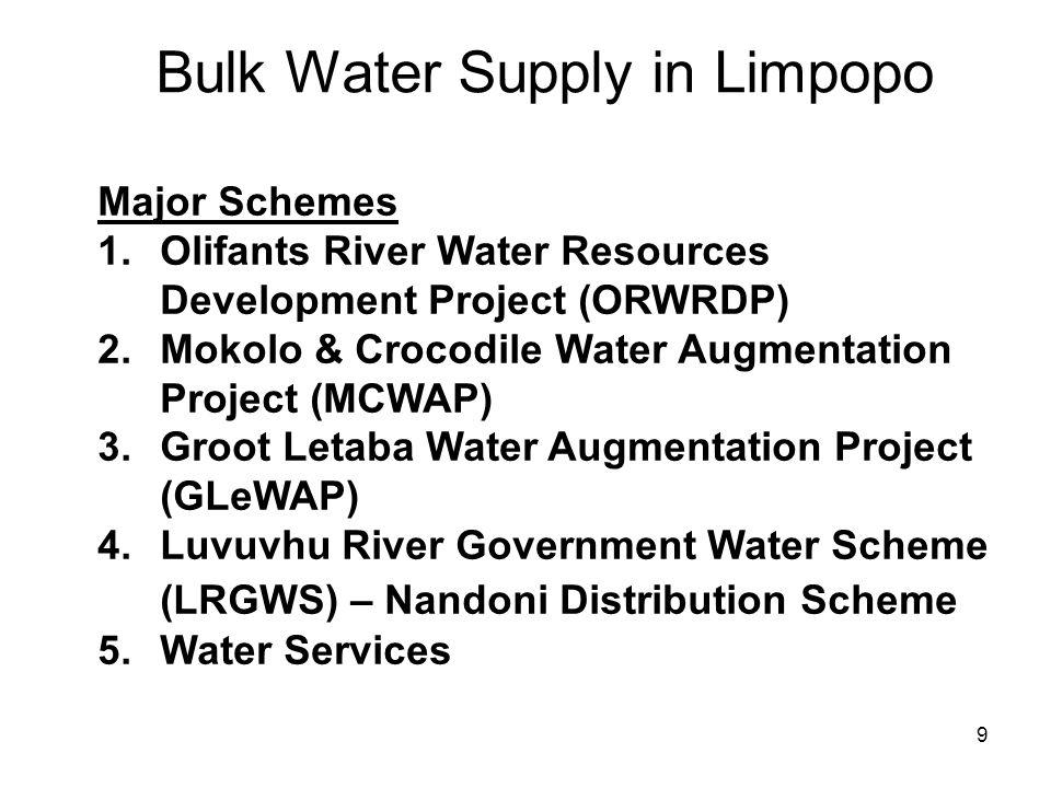 9 Bulk Water Supply in Limpopo Major Schemes 1.Olifants River Water Resources Development Project (ORWRDP) 2.Mokolo & Crocodile Water Augmentation Pro