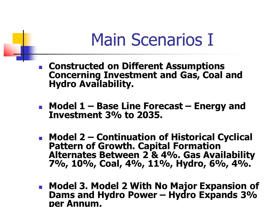 Main Scenarios I Constructed on Different Assumptions Concerning Investment and Gas, Coal and Hydro Availability.