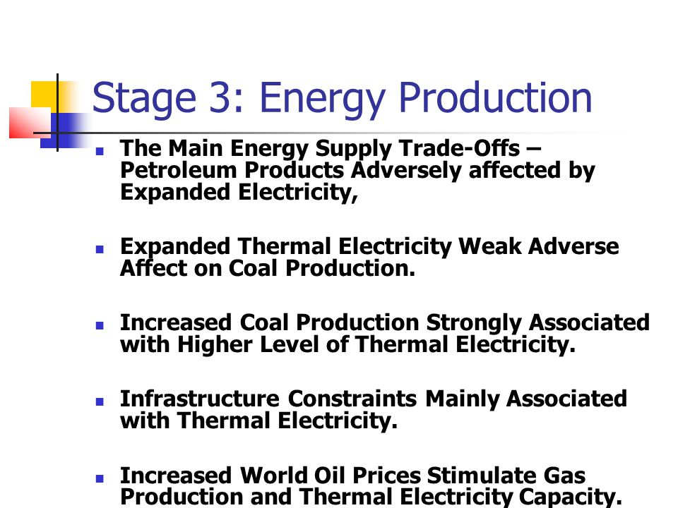 Stage 3: Energy Production The Main Energy Supply Trade-Offs – Petroleum Products Adversely affected by Expanded Electricity, Expanded Thermal Electricity Weak Adverse Affect on Coal Production.