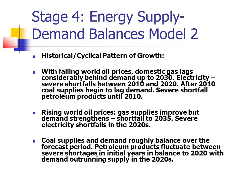 Stage 4: Energy Supply- Demand Balances Model 2 Historical/Cyclical Pattern of Growth: With falling world oil prices, domestic gas lags considerably behind demand up to 2030.
