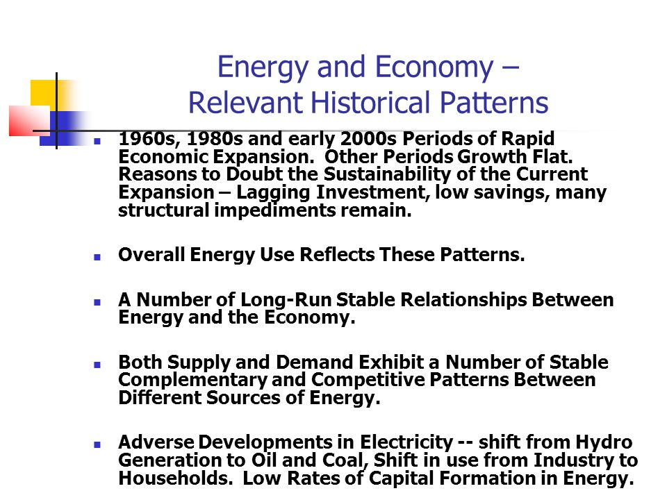 Energy and Economy – Relevant Historical Patterns 1960s, 1980s and early 2000s Periods of Rapid Economic Expansion.