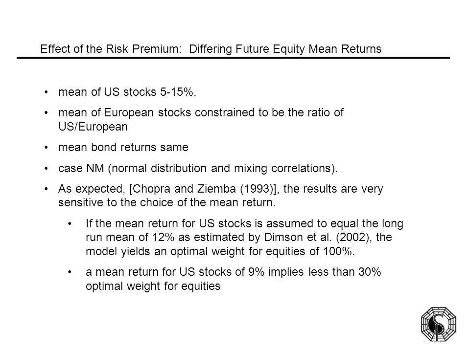 Effect of the Risk Premium: Differing Future Equity Mean Returns mean of US stocks 5-15%.