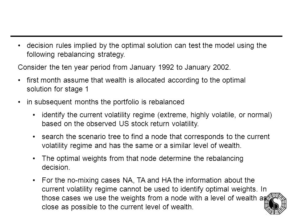 decision rules implied by the optimal solution can test the model using the following rebalancing strategy. Consider the ten year period from January