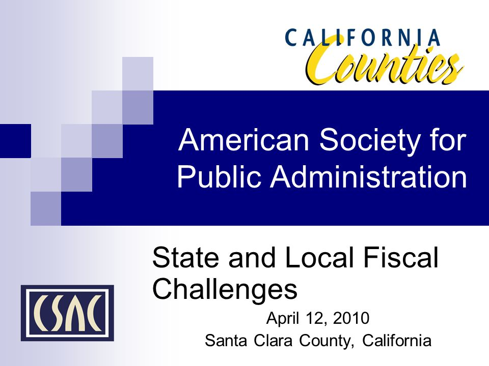 American Society for Public Administration State and Local Fiscal Challenges April 12, 2010 Santa Clara County, California