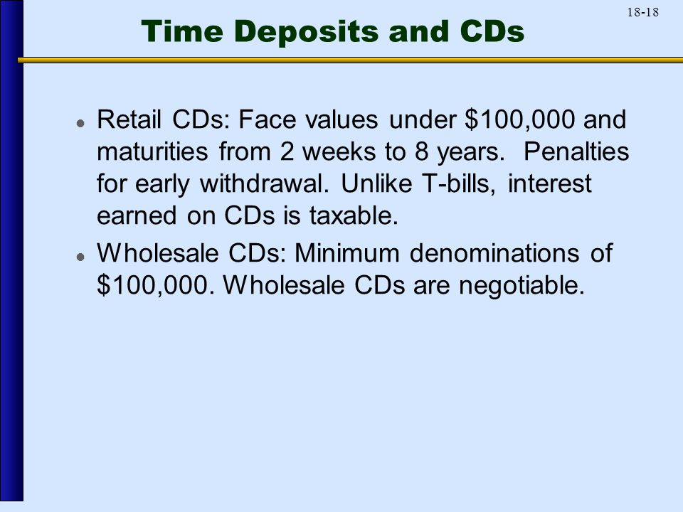 18-18 Time Deposits and CDs Retail CDs: Face values under $100,000 and maturities from 2 weeks to 8 years.