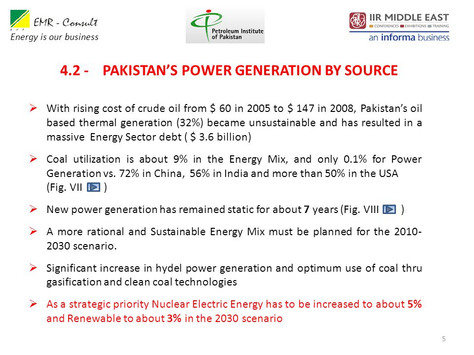 4.2 - PAKISTAN'S POWER GENERATION BY SOURCE 5  With rising cost of crude oil from $ 60 in 2005 to $ 147 in 2008, Pakistan's oil based thermal generation (32%) became unsustainable and has resulted in a massive Energy Sector debt ( $ 3.6 billion)  Coal utilization is about 9% in the Energy Mix, and only 0.1% for Power Generation vs.