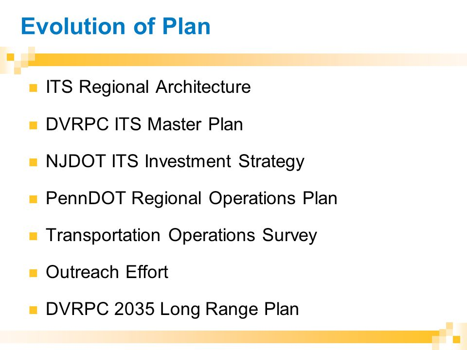 Evolution of Plan ITS Regional Architecture DVRPC ITS Master Plan NJDOT ITS Investment Strategy PennDOT Regional Operations Plan Transportation Operations Survey Outreach Effort DVRPC 2035 Long Range Plan