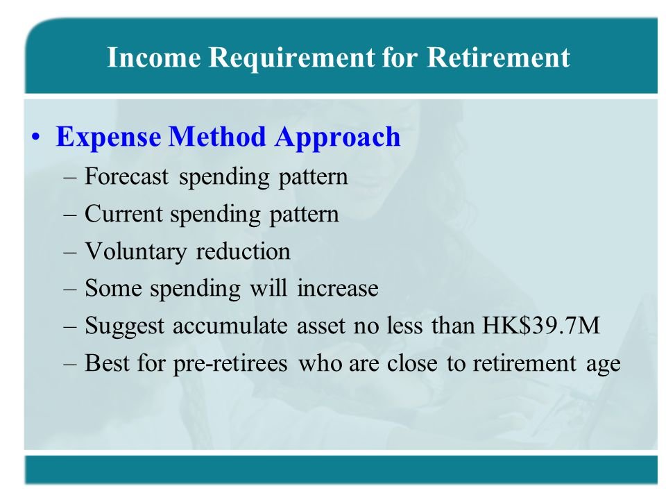 Income Requirement for Retirement Expense Method Approach –Forecast spending pattern –Current spending pattern –Voluntary reduction –Some spending will increase –Suggest accumulate asset no less than HK$39.7M –Best for pre-retirees who are close to retirement age