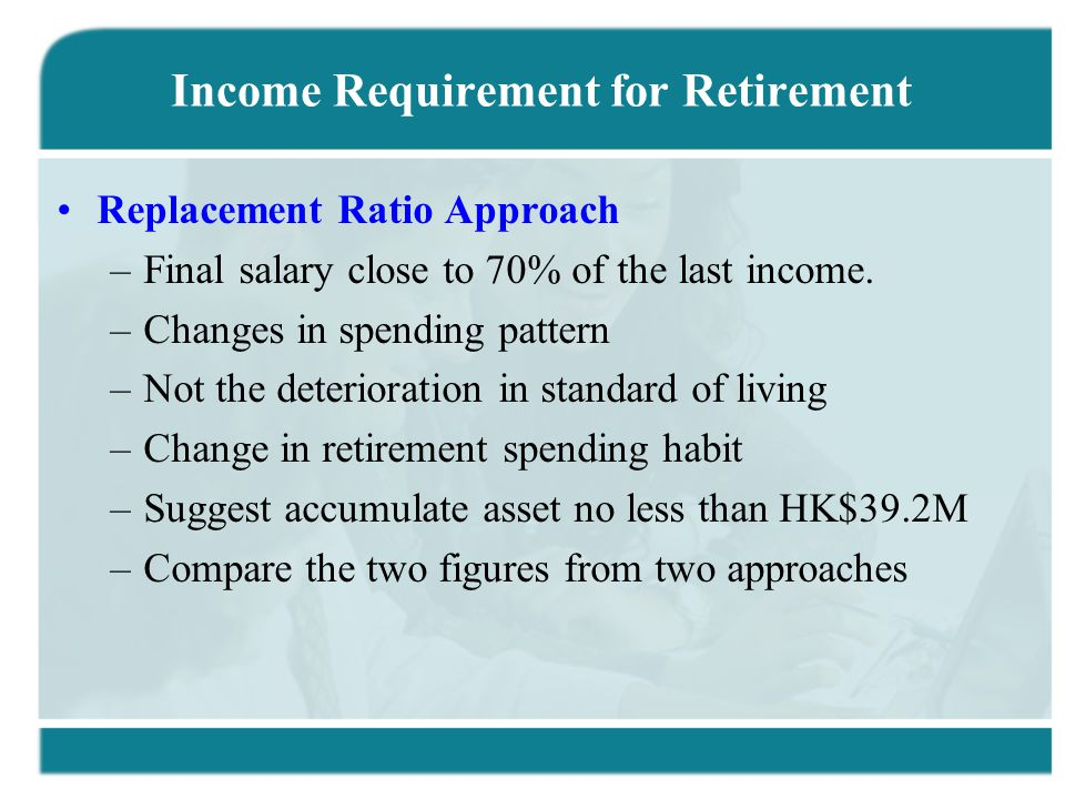 Income Requirement for Retirement Replacement Ratio Approach –Final salary close to 70% of the last income. –Changes in spending pattern –Not the dete