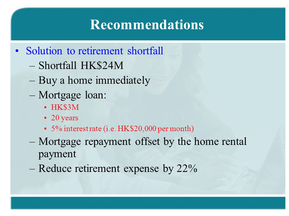 Recommendations Solution to retirement shortfall –Shortfall HK$24M –Buy a home immediately –Mortgage loan: HK$3M 20 years 5% interest rate (i.e.