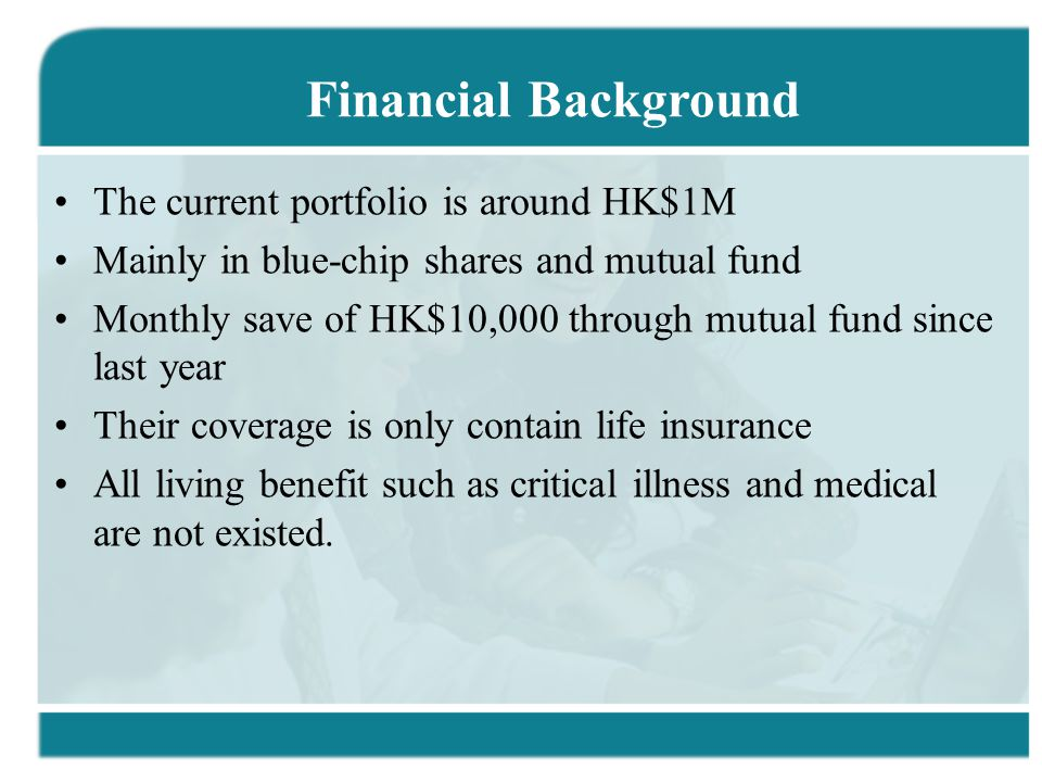 The current portfolio is around HK$1M Mainly in blue-chip shares and mutual fund Monthly save of HK$10,000 through mutual fund since last year Their c