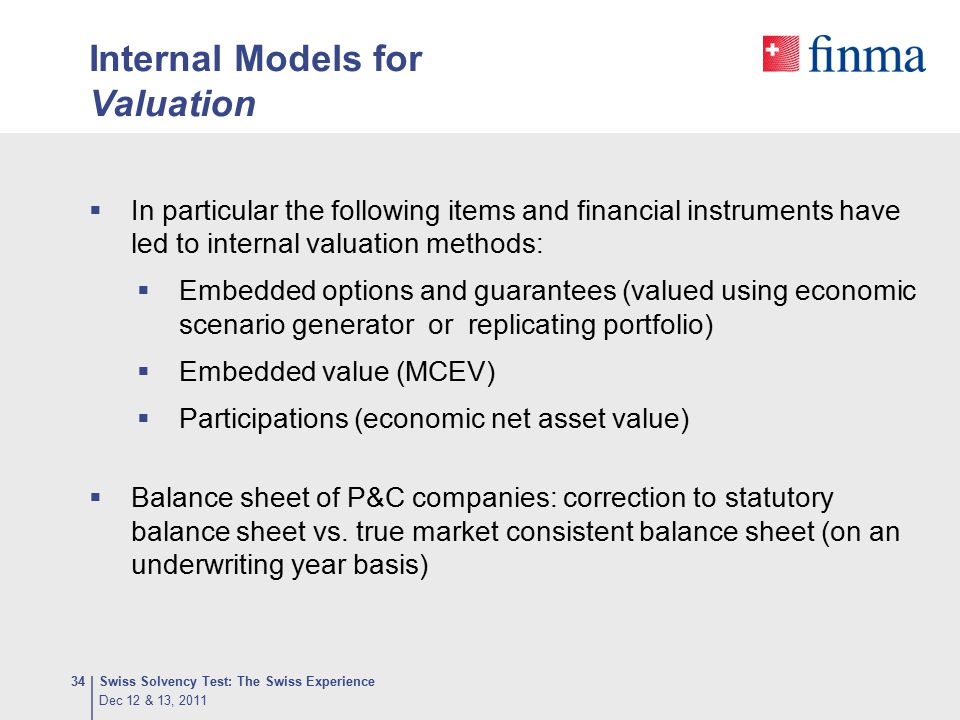 Internal Models for Valuation  In particular the following items and financial instruments have led to internal valuation methods:  Embedded options