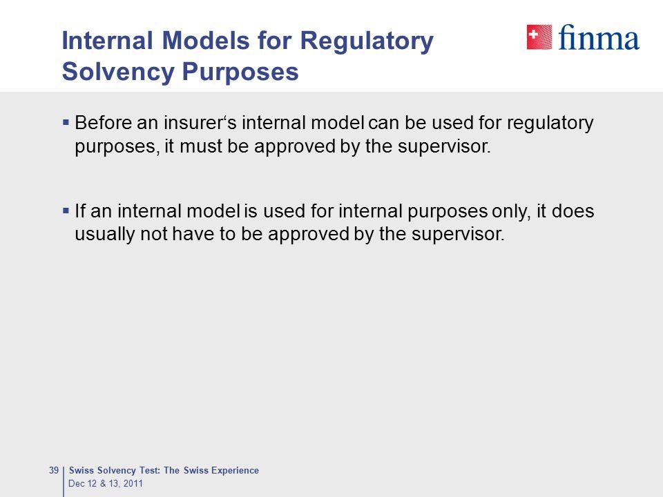 Internal Models for Regulatory Solvency Purposes  Before an insurer's internal model can be used for regulatory purposes, it must be approved by the