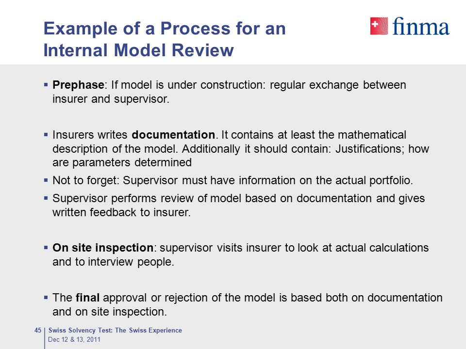 Example of a Process for an Internal Model Review  Prephase: If model is under construction: regular exchange between insurer and supervisor.  Insur
