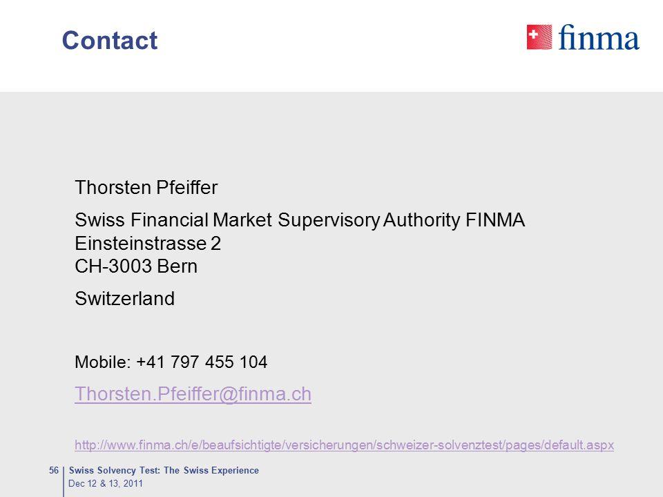 Contact Thorsten Pfeiffer Swiss Financial Market Supervisory Authority FINMA Einsteinstrasse 2 CH-3003 Bern Switzerland Mobile: +41 797 455 104 Thorst