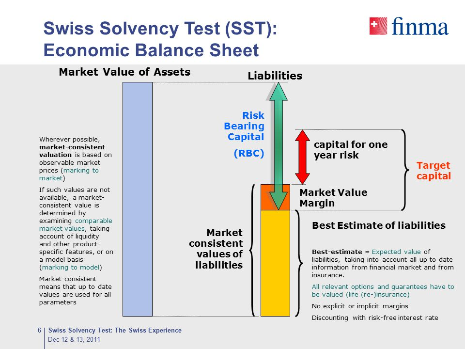 Components of Target Capital (SCR) Reinsurance companies, 2011 Dec 12 & 13, 2011 Swiss Solvency Test: The Swiss Experience17
